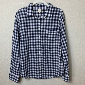 J Crew Factory Perfect Shirt Blue Gingham - Medium